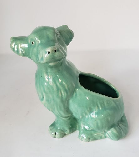 Vintage Weller Pottery Green Three Headed Dog Planter