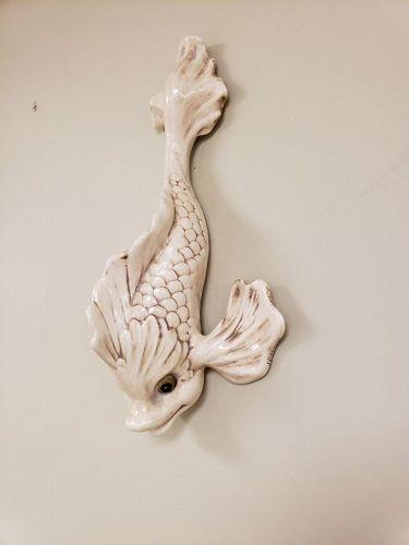 Large 1950's California Freeman McFarlin Pottery Dolphin Fish Wall Art