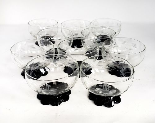 Set of 10 Etched Sherbet Glasses with Black Amethyst Scalloped Feet