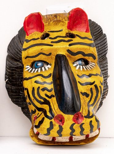 Guatemalan Hand Caved Painted Wood Tiger Mask With Glass Eyes