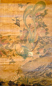 Chinese Peacock Scroll Painting