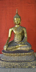 THAI SEATED BUDDHA WITH GILT BRONZE