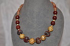 Carnelian and Gilt Metal Beads Necklace