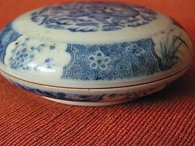 Blue White Porcelain Seal Box with Dragon