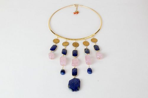 LAPIS AND ROSE QUARTZ NECK RING