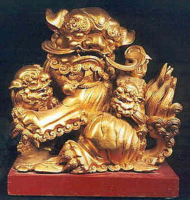 Chinese Gilt Wood Carving of Foo Dog
