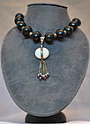 White Stone Pendant and Hematite Beads Necklace