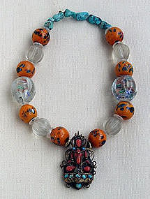 Buddhist Coral and Turquoise Necklace