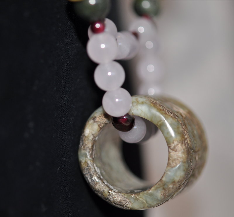 Chinese Jade Archer Ring Necklace