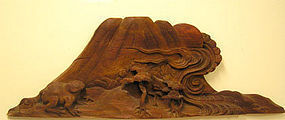 Japanese Architectural Pine and Tortoise Carving