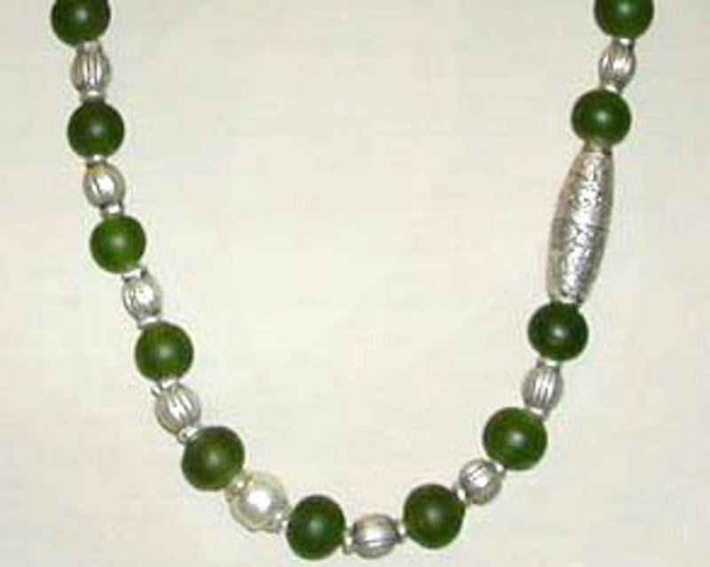 Tribal Silver and Green Glass Bead Designer Necklace