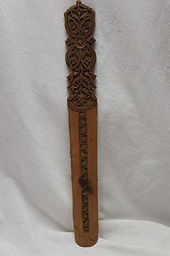 Intricately carved wooden paper knife