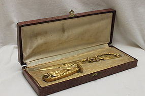 Boxed gilt bronze letter opener and seal by G A Chenus