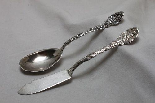 Gorham sterling silver butter knife & spoon - Versailles pattern