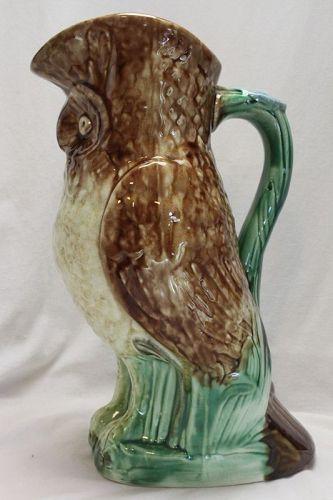 Majolica owl jug by Mouzin, Lecat of Mons, Belgium