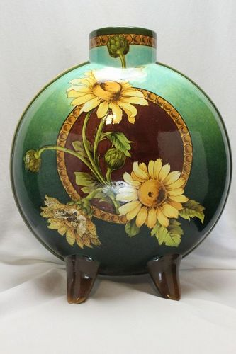 Doulton Lambeth faience hand painted flask vase
