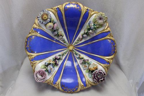 Flower encrusted bowl att. to Coalport