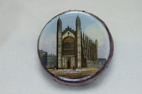Souvenir reverse painted pin cushion Kings College Cambridge