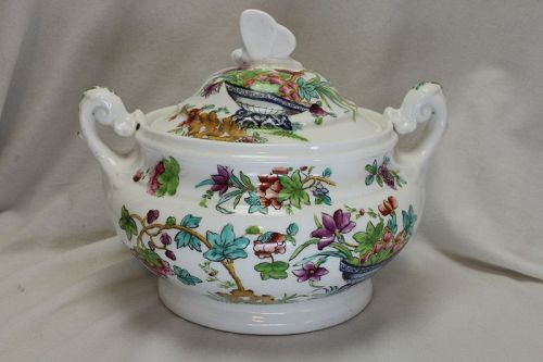 Ridgway hand coloured porcelain lidded sugar bowl.