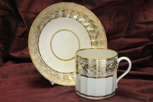 Derby gilded coffee can and saucer c1800