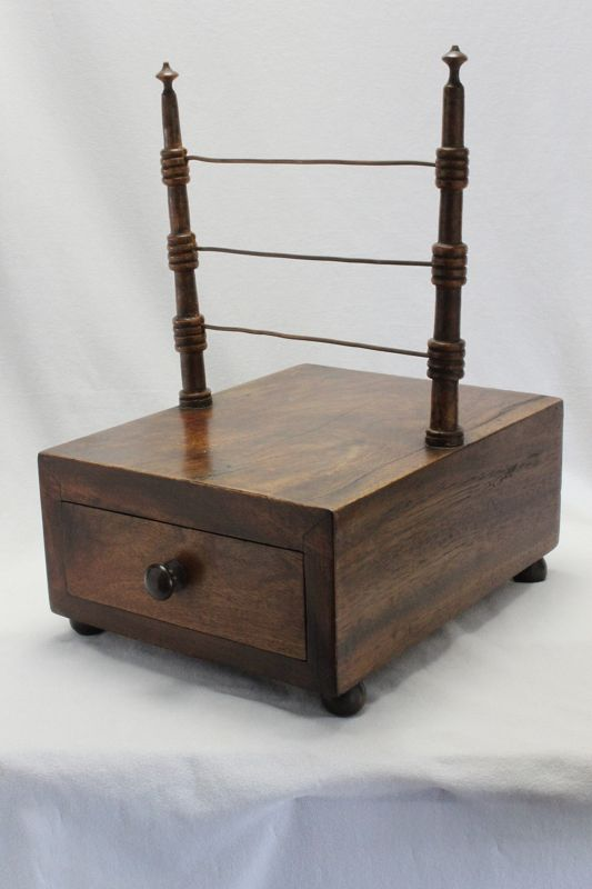 Late Georgian sewing reel holder with drawer