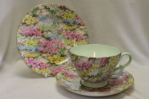 Shelley Rock Garden chintz cup saucer and plate-pattern 13454.