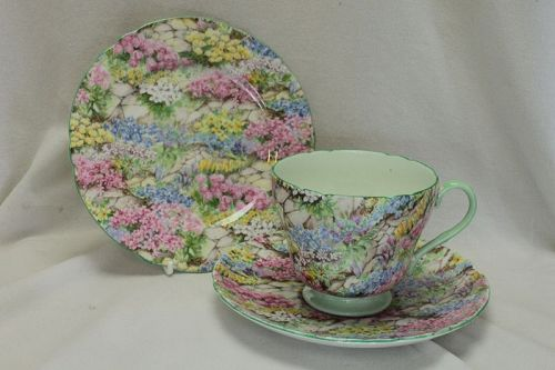 Shelley chintz Rock Garden cup saucer and plate-pattern 13454