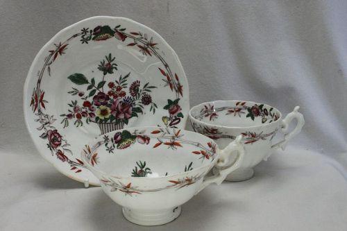 C J Mason porcelain hand coloured  trio