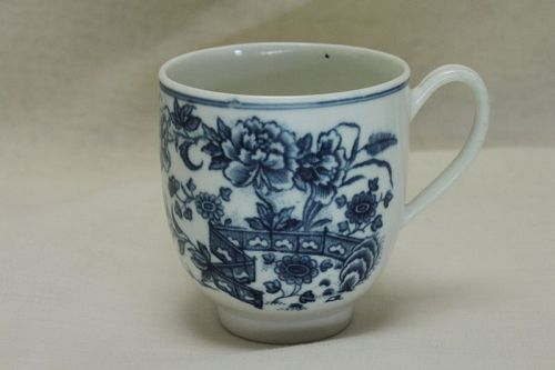 Caughley blue printed coffee cup Fence pattern