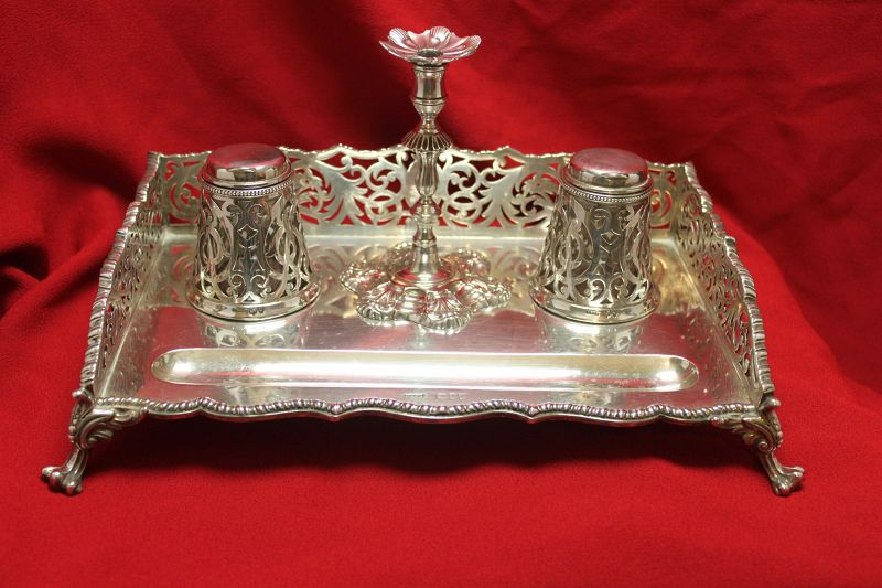 Sterling silver ink stand London 1895