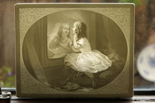 KPM lithophane of young girl with mirror