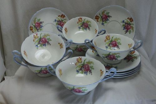 "Set of Shelley soup bowls and saucers ""Davies Tulip"" pattern"