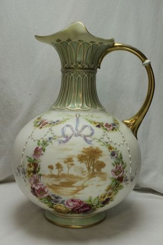 Painted and gilded parian jug or ewer