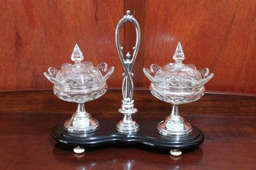 Dutch glass and silver sweetmeats set on stand