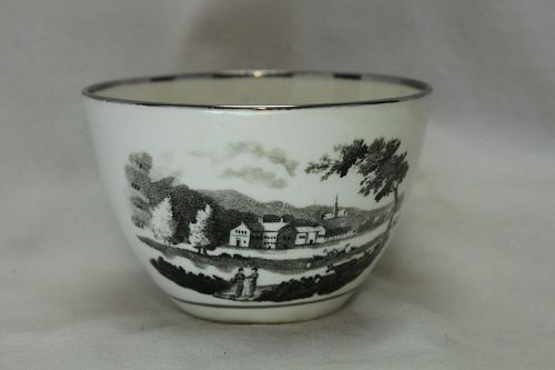 Rathbone bat printed porcelain cup c1810