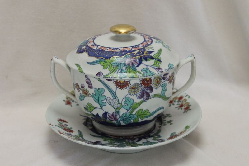 Spode lidded broth bowl on stand pattern 2117