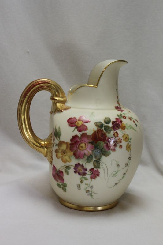 Royal Worcester hand coloured jug