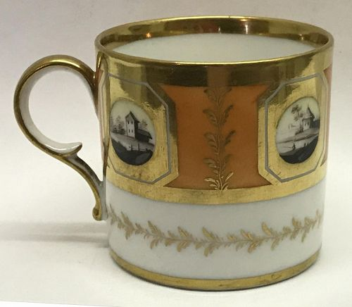 Early 19th Century Porcelain Coffee Can with Hand Painted Landscapes