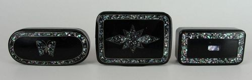 A Collection of Three Victorian Decorated Papier-Mâché Snuff Boxes
