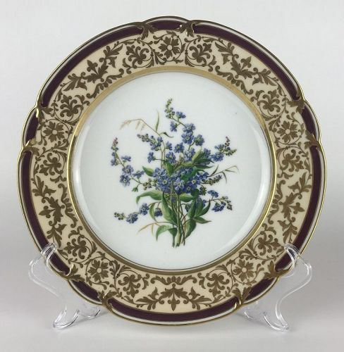 Superb Hand-Painted Cabinet Plate/Dessert Plate by Edouard D. Honoré