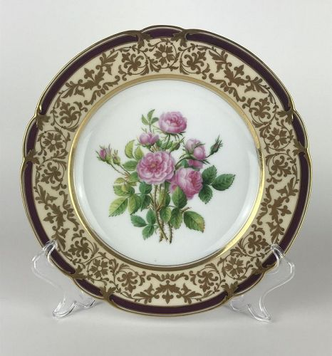 Gorgeous Hand-Painted Cabinet Plate/Dessert Plate by Edouard D. Honoré