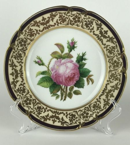 Stunning Hand-Painted Cabinet Plate/Dessert Plate by Edouard D. Honoré