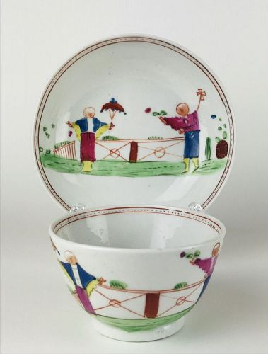 Fine Late 18th Century English (Keeling?) Cup and Saucer - Chinoiserie