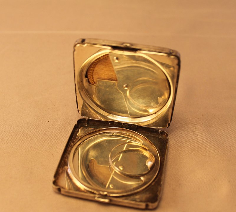 Art Deco Nickel Silver compact Case.