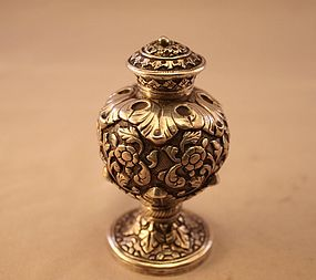 Antique European Repousse Silver Salt Shaker, 19th C.