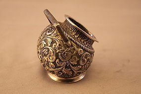 Antique European Repousse Silver Salt Cellar, 19th C.