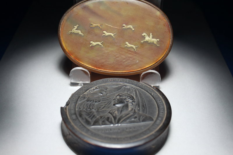 Two Antique Horn Tobacco, Snuff Box, 19th C.