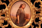 Antique German Hand Painted Porcelain Plaque of RUTH