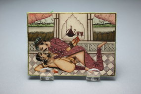 Indian Erotica Miniature Painting on Ivory.