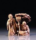 Japanese Carved Ivory Netsuke, 19th C.